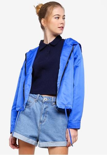Something Borrowed blue Contrast Trim Lightweight Jacket 3E578AA6DDCD2BGS_1