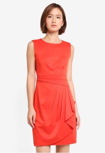 ZALORA red Pleated Draped Dress CF712AA8A753E6GS_1