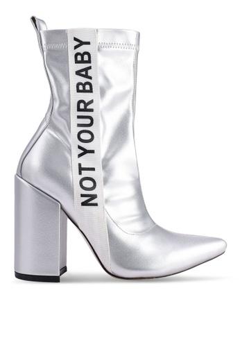 6f4271de5572 Public Desire silver Madison Slogan Sock Fit Ankle Boots C99A4SH0DF0A54GS 1