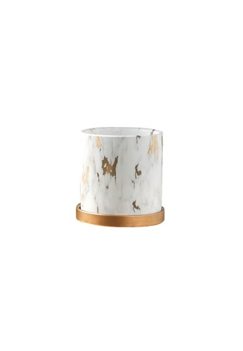 DILAS HOME Gold x Marble Effect Plant Pot with Tray - Small 7B4CAHL6C28153GS_1