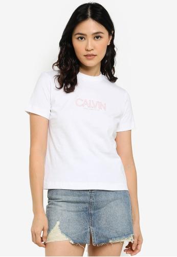 CALVIN KLEIN white Outlined Logo Tee - CK Jeans 0FBA3AAE457D1FGS_1