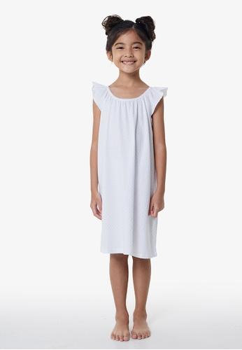 Gen Woo white Silver Glitter Spot Night Dress by Gen Woo 909B7KA23E6352GS_1