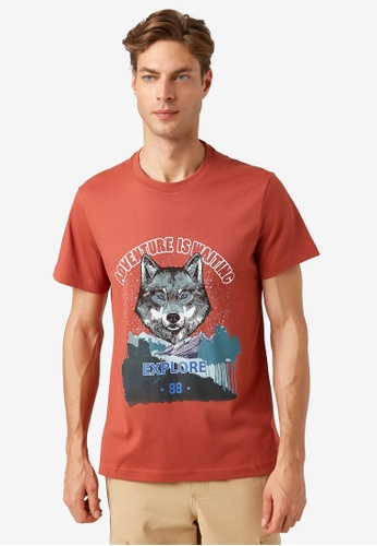 KOTON brown Graphic T-Shirt 84807AAB660C25GS_1