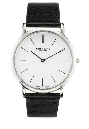 Stuhrling Original black Silver Tone and Black Leather Watch ST251AC0RFJ0MY_1