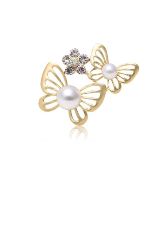 Glamorousky white Simple and Fashion Plated Gold Double Butterfly Imitation Pearl Brooch with Cubic Zirconia 97F0BAC3341744GS_1