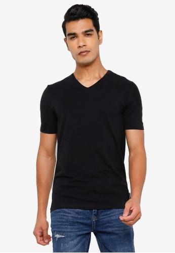 Springfield black Slim V-Neck T-Shirt CADAEAAA3F408CGS_1