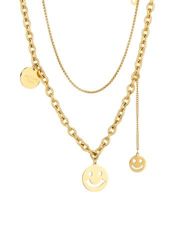 CELOVIS gold CELOVIS - Trixie Smiley Pendant with 'I Love You' Multi-layer Chain Necklace in Gold 2AD9FAC6171E2CGS_1