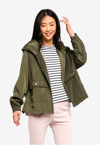 ZALORA BASICS green Basic Short Raincoat C7B59AABC022E8GS_1