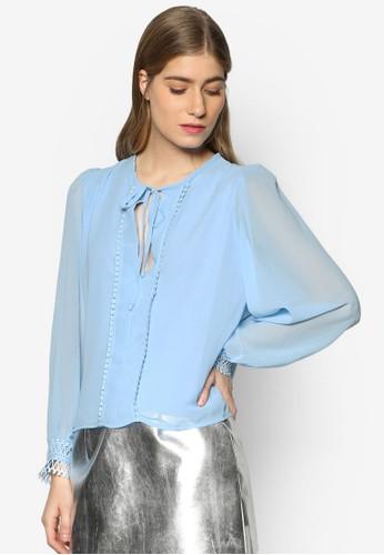 Joell 蕾絲邊飾繫帶長袖衫, esprit官網服飾, 上衣