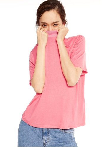 Pomelo pink Lou Mock Neck Tee - Pink 7CAC2AA4DFD209GS_1