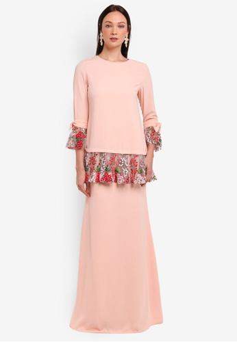 Alia B. orange Selena Modern Kurung With Lace And Bow Detail  AL946AA0STD2MY 1 9321f6bcbc