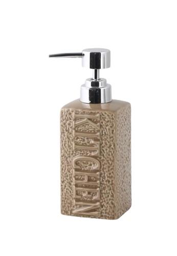 Ayra Home & Living brown Brown Ceramic Soap Pump Kitchen Embossed 9C244HL1C4D916GS_1