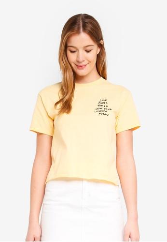 Miss Selfridge 黃色 'Love Paris New York Tokyo' T-Shirt EFAE7AA714FC98GS_1