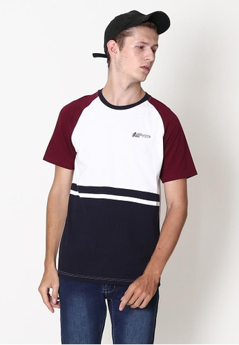 SUPER BRAVE white and purple and navy T-shirt Fashion Raglan Colour Block with Simple Print 8D1D2AADCBD836GS_1