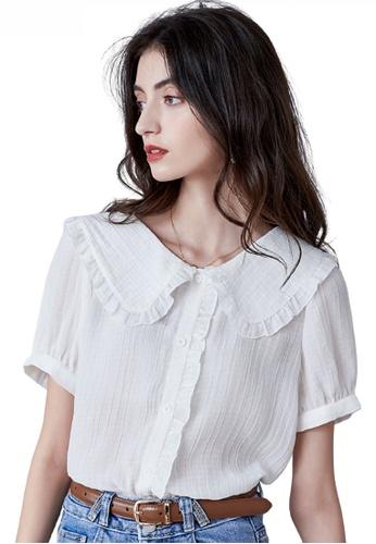 HAPPY FRIDAYS white Romantic Doll Collar Blouse JW VY-W2122005 AFA9CAA0E665DEGS_1