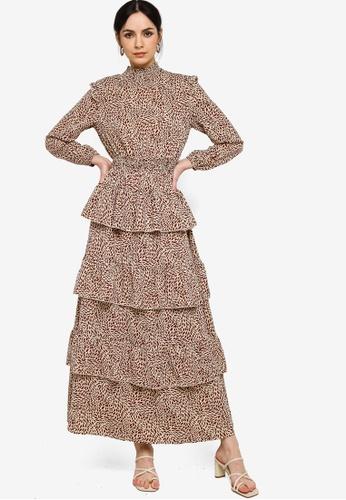 Zalia red and beige Smocked Waist Tier Dress 1E147AAB4B72BFGS_1