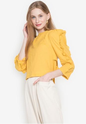 Andi + Olivia yellow Ruffled Sleeve Top 0EF85AA545E6B7GS_1