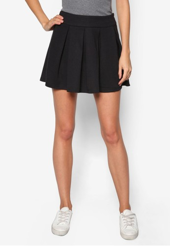 基本款褶藝傘狀短裙,zalora 鞋評價 服飾, 裙子