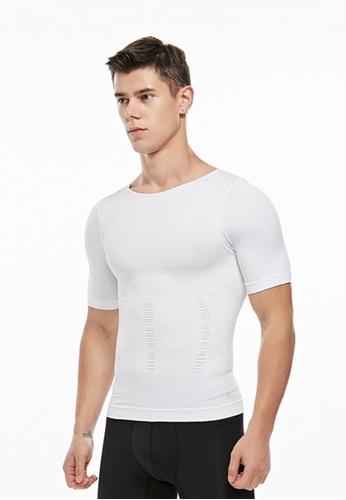 YSoCool white Men's Body Shaper Short Sleeve Compression Shirt BE991AA03B61DBGS_1