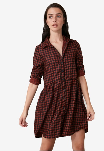 Trendyol orange Houndstooth Shirt Dress 20D86AAB9AD723GS_1