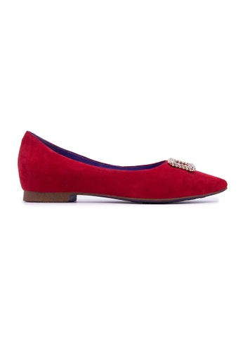 Flatss & Heelss by Rad Russel red Shiny Embellished Flats - Red AC603SHF75633FGS_1