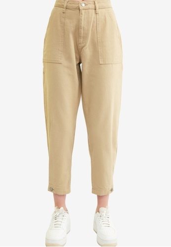 Trendyol beige High Waist Slouchy Jeans F0BA6AAD3FB08CGS_1