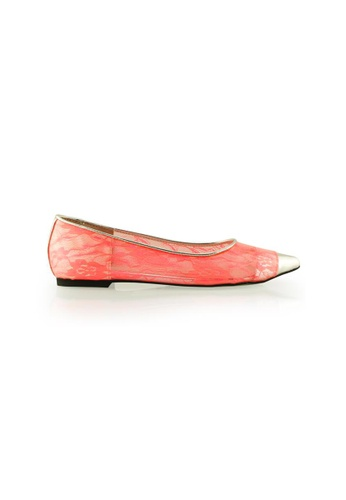 Gripz silver Lacesharp Neon Lace Pointed Toe Flats GR357SH93IRMSG_1