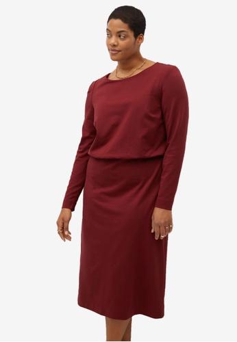 Violeta by MANGO red Plus Size Knit Shift Dress DB6C9AA02B40ADGS_1