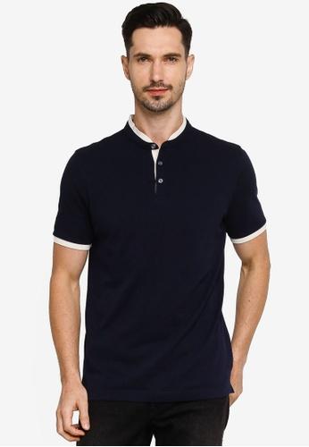Banana Republic navy Core Temp Pique Banded Collar Polo Shirt A4980AA22031CFGS_1