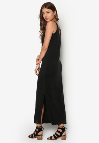 側開衩挖背長洋裝, 服飾, 夏日zalora 包包評價洋裝