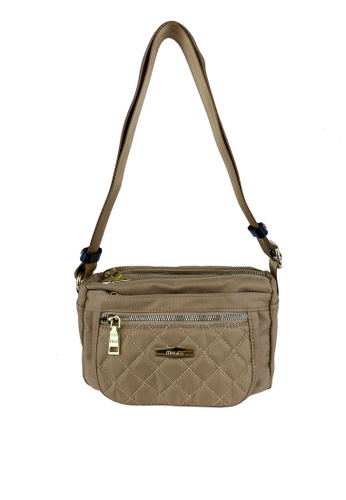 Mel&Co beige Front Quilted Nylon Sling Bag 9C7B3AC74790DAGS_1