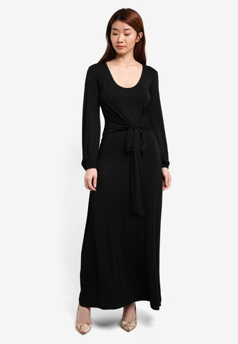 ZALORA black Tie Front Jersey Dress 519A4AA432CB09GS_1