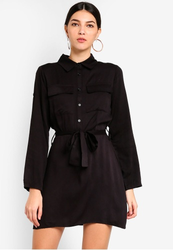 MISSGUIDED black Tie Waist Utility Shirt Dress 532BBAADCBCC88GS_1
