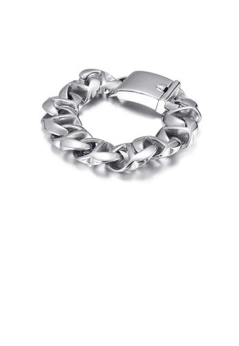 Glamorousky silver Fashion Personality Geometric Wide Version 316L Stainless Steel Bracelet 6FBBFACAEE8C9EGS_1