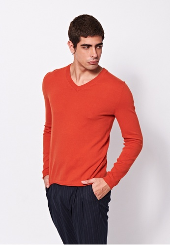 Sisley brown V-neck Knitted Sweater 87BABAA36347CDGS_1