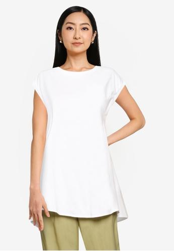 GLOBAL WORK white Curve Hem Tunic 9C0A6AAA212147GS_1