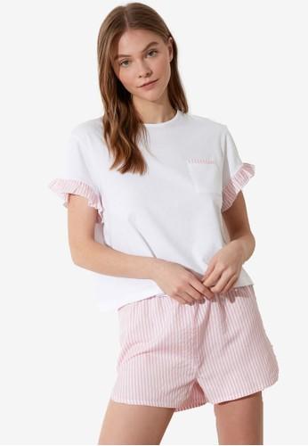 Trendyol pink 2-Piece Striped Pajamas Set 6A901AAC3E5576GS_1