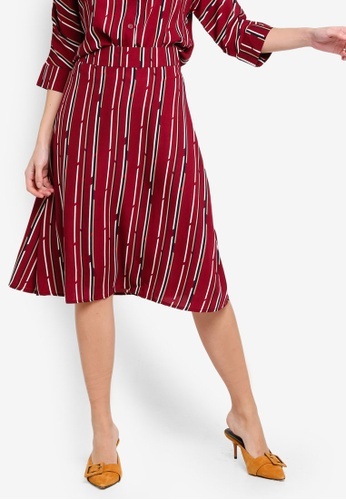ZALORA 紅色 and 多色 A-Line Skirt 685CEAA48A9761GS_1