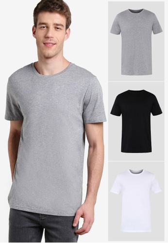 Burton Menswear London multi 3 Pack Black White & Grey Basic Tees BU964AA85RACMY_1