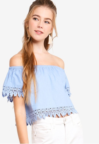 Something Borrowed blue Off Shoulder Lace Trim Top C061AAA87E23F5GS_1