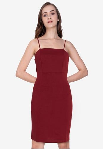 ZALORA WORK red Square Neck Cami Bodycon Dress 1C458AA8D99F0FGS_1