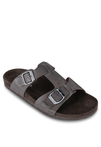 zalora 順豐雙扣環寬帶涼鞋, 鞋, 拖鞋