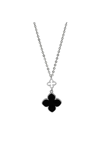 LYCKA silver LDR1343 S925 Silver Black Clover Necklace 38748AC20B48CCGS_1