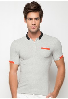 Geo Polo Tee With Color Combo Pocket