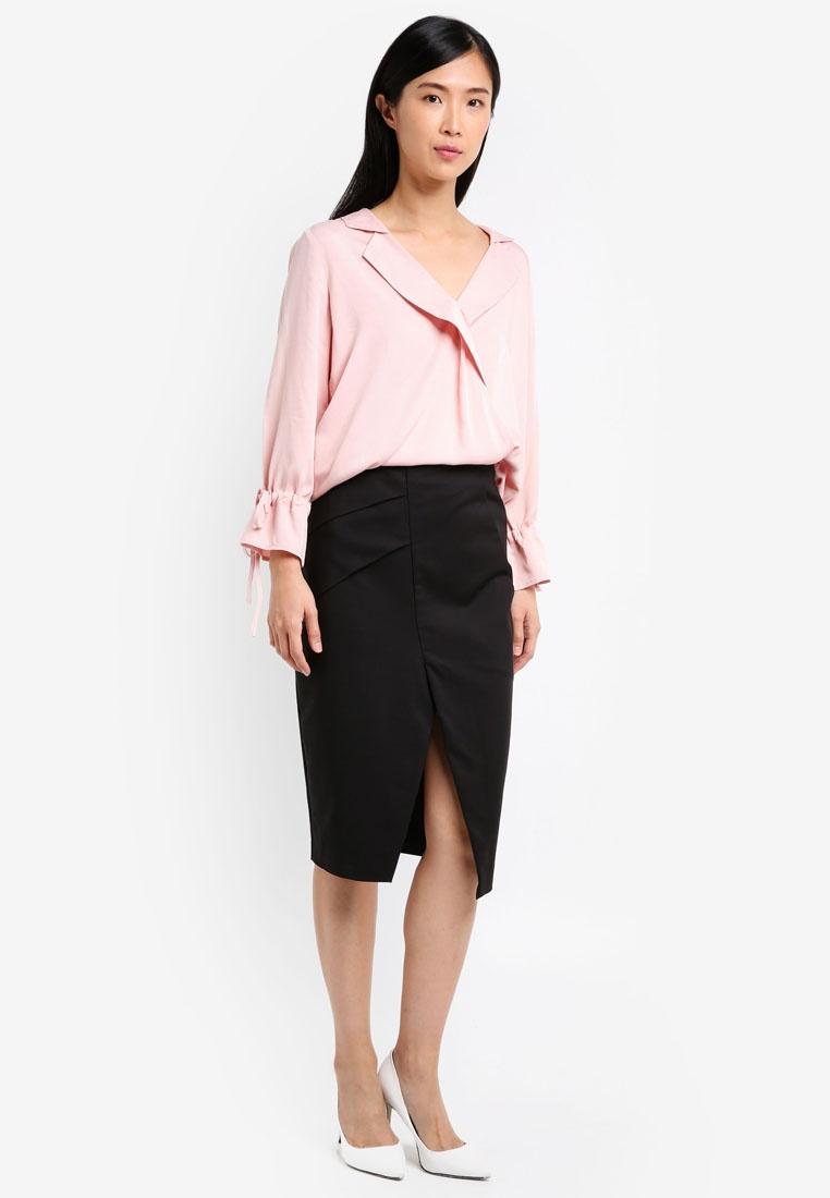 Gathered Sleeve Draped Blouse Pink ZALORA 5pABPW