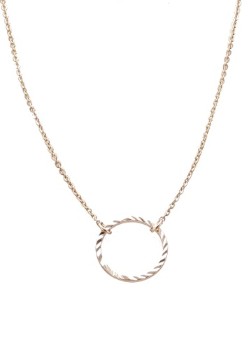 Orelia London gold Circle Cut Out Ditsy Necklace OR747AC0SC2GMY_1