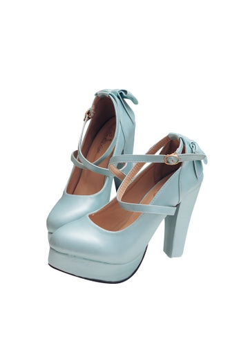 Ruby's Collection blue Ruby's Design- Sweet Cross Straps Bow Platform Heels with Charm RU654SH2VFPZHK_1