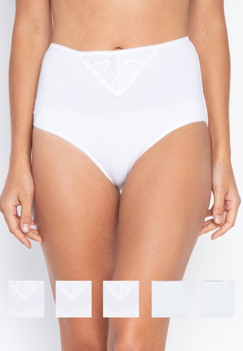 DEBENHAMS white The Collection - 5pp Embroidery Full Brief 86043USDF1AF2CGS_1