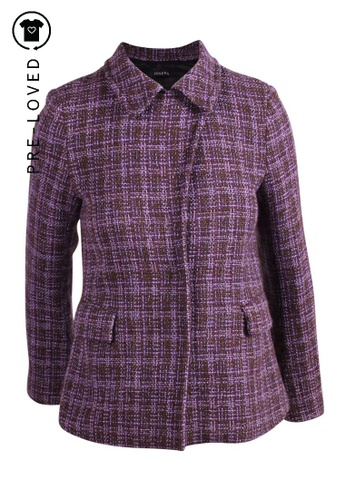 Joseph brown Pre-Loved joseph Purple and Brown CheckTweed Jacket with Press Snap Buttons F3751AAEFF656EGS_1