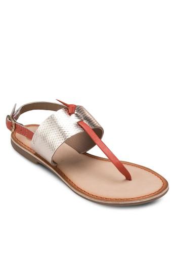 Vieesprit 旺角ux 撞色寬帶夾趾涼鞋, 女鞋, 涼鞋